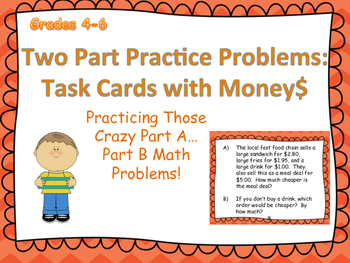 Two-Part Task Cards  with Money