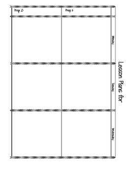 Two Prep Plan Sheet