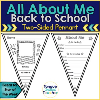Two-Sided About Me Pennant Bunting for Back to School or S