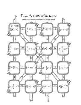 Two Step Equation Maze, Black & White and Color
