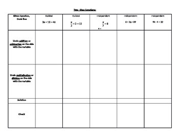 Two-Step Equation Notes, Guided Problems, and Independent