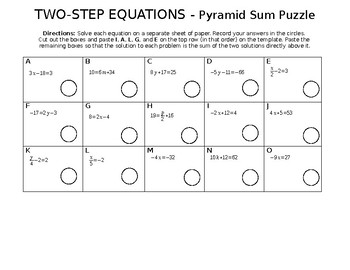 Two-Step Equation Sum Puzzle!