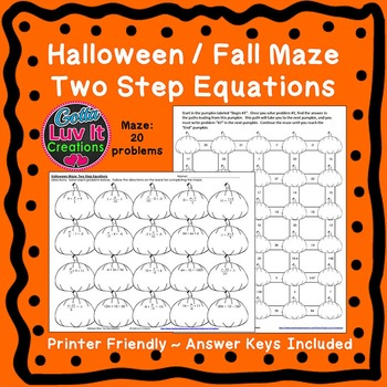 Halloween Fall Two Step Equations Maze