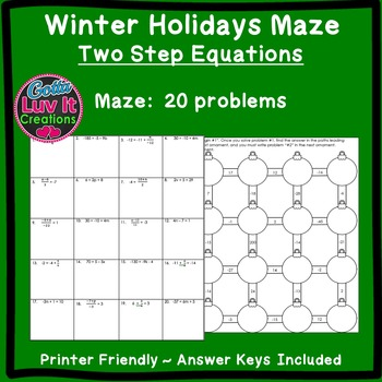 Christmas Activity: Two Step Equations Maze