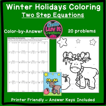 Christmas Activity: Two Step Equations Color by Number
