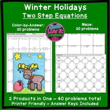Christmas Math Two Step Equations Maze & Color by Number C