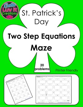 St. Patrick's Day Two Step Equations Maze