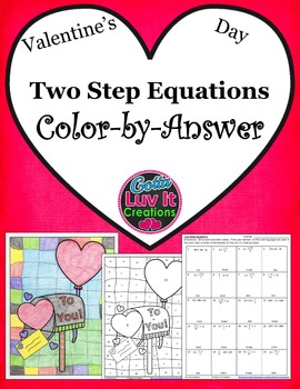 Valentine's Day Two Step Equations Color-by-Answer