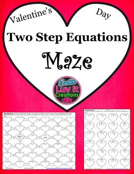 Valentine's Day Two Step Equations Maze