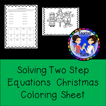 Two Step Equations Christmas Coloring Sheet