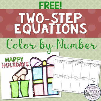 FREE Two-Step Equations Color By Number Christmas Activity!