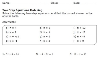 Two Step Equations Matching Worksheet