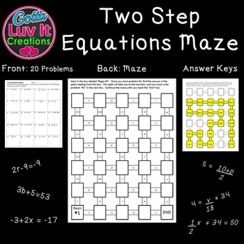 Two Step Equations - 2 Mazes