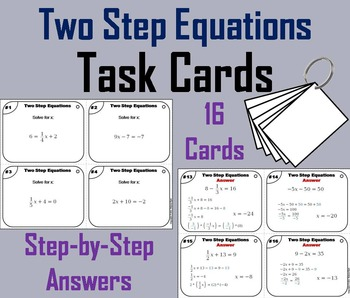 Solving Two Step Equations Task Cards/ Solving 2 Step Equa