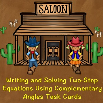 Two-Step Equations Using Complementary Angles Task Cards