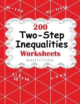 Two-Step Inequalities Worksheets