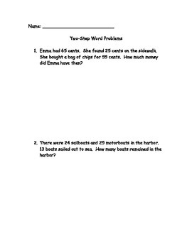 Two Step Math Word Problems