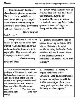Two-Step Multiplication and Division Worksheet TEKS 4.4H