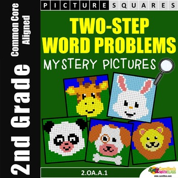 2 Step Word Problem, Second Grade Word Problems Mystery Pi
