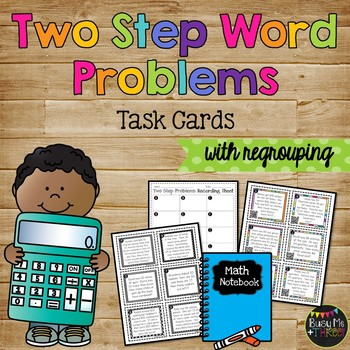 Two Step Word Problem Task Cards, QR Codes, Numbers Up To 99