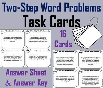 Two Step Word Problems Task Cards/ 2 Step Word Problems Ta