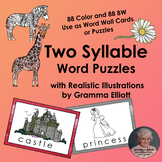 Two Syllable Word Puzzles for Word Wall Cards and Flash Cards