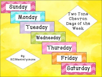 Two Tone Chevron Days of the Week Signs