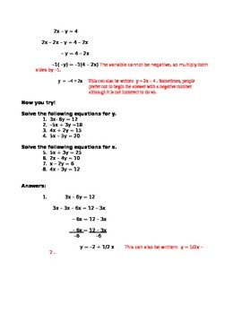 Two Variable Equations Solving for one Variable in Terms o
