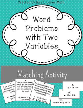 Two Variable Word Problems Matching Activity