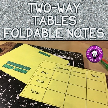 Two Way Tables Foldable Notes for Interactive Notebook