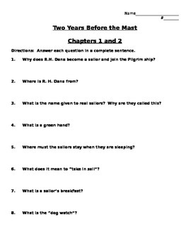 Two Years Before the Mast Comprehension Questions