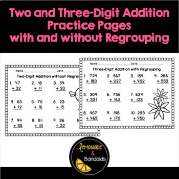 Two and Three Digit Addition Printables with and without R