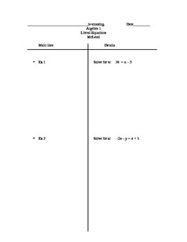 Two-column notes for Solving Literal Equations
