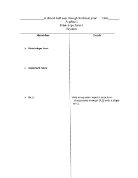 Two-column notes for  point-slope form