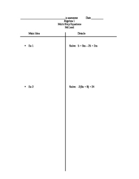 Two-column notes on Multi-step equations