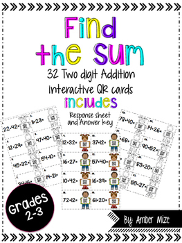 Two digit Addition QR code task cards