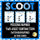 Two-digit Subtraction Missing Number Scoot - with regroupi