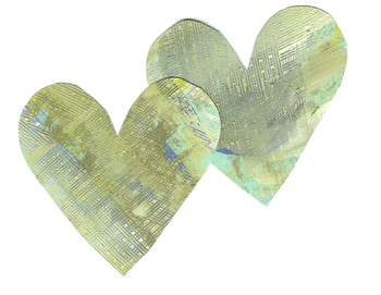 Two hand painted hearts / Clip art
