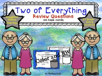 Two of Everything Review Task Cards for Houghton Mifflin Journeys