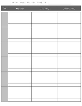 Two-page Lesson Plan Template for Binder