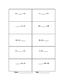 "Two worksheets, ""Find the missing Addend and/or subtrahend"