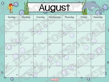 Typeable Calendar: Ocean Themed (3 years!)