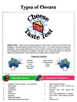 Types Of Cheeses Game / Activity