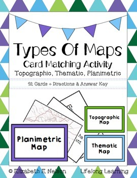 Types Of Maps: Card Matching Activity- Topographic, Themat