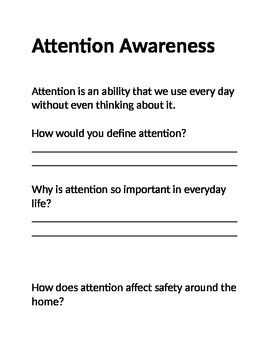 Types attention journal worksheet adults safety awareness