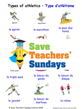 Types of Athletics in French Worksheets, Games, Activities