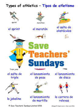 Types of Athletics in Spanish Worksheets, Games, Activitie