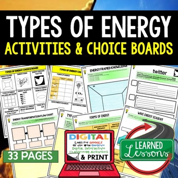 Types of Energy Choice Board Activities with Google Link