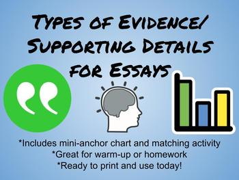 Types of Evidence/Supporting Details for Essay Writing