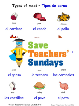 Types of Meat in Spanish Worksheets, Games, Activities and